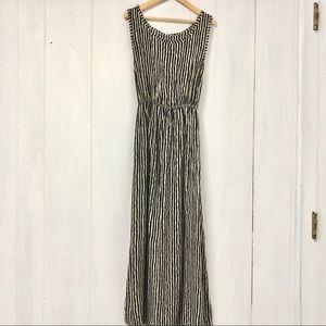 Black and Tan Vertical Striped Midi Dress